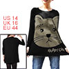Lady Black Beige Dolman Sleeve Cartoon Cat Print Pullover Fall Tunic Shirt L