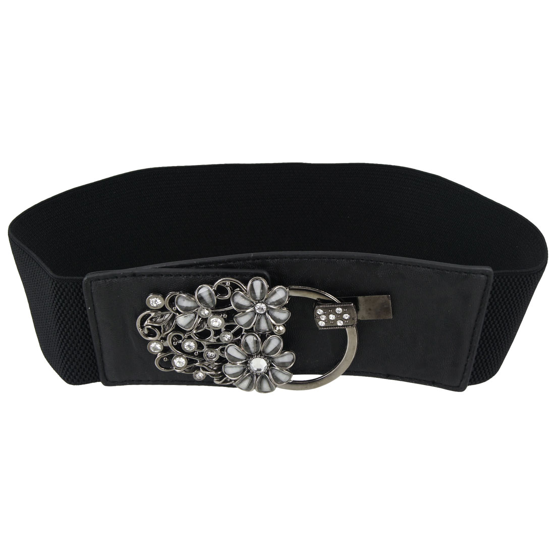 Women Clear Plastic Rhinestone Decor Black Elastic Waist Belt
