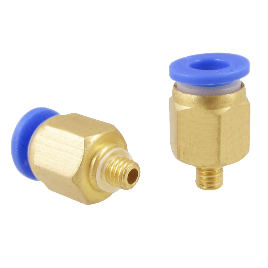 5mm Male Thread 6mm Connector Dia One Touch Tube Push in Quick Fittings 2 Pcs