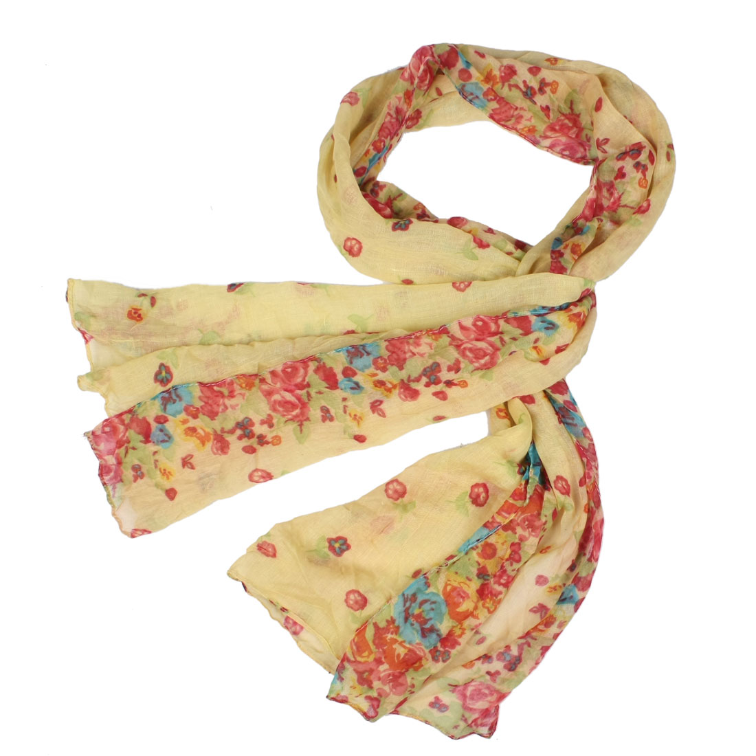 Woman Flower Pattern Yellow Red Gauze Soft Wrap Scarf Shawl 1.6m Long