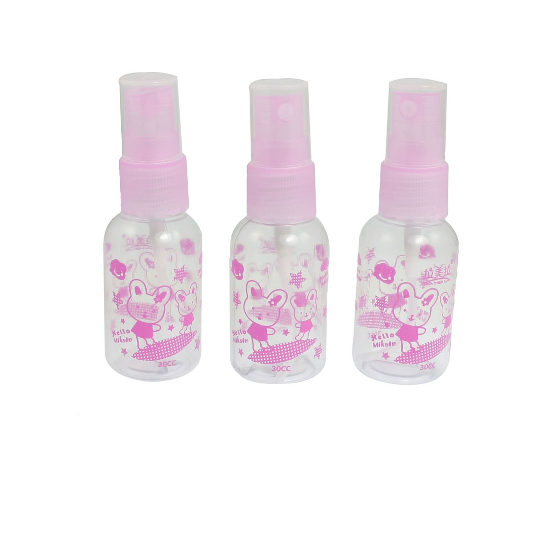 30ml Cosmetic Atomizer Pink Clear Plastic Water Spray Bottles 3 Pcs