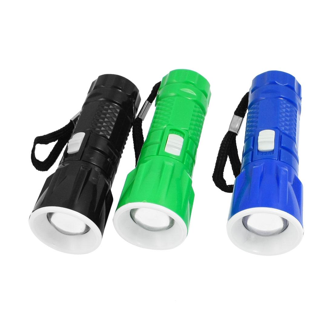 Plastic Textured Shell White 1 LED Mini Flashlight Torch 3 Pcs