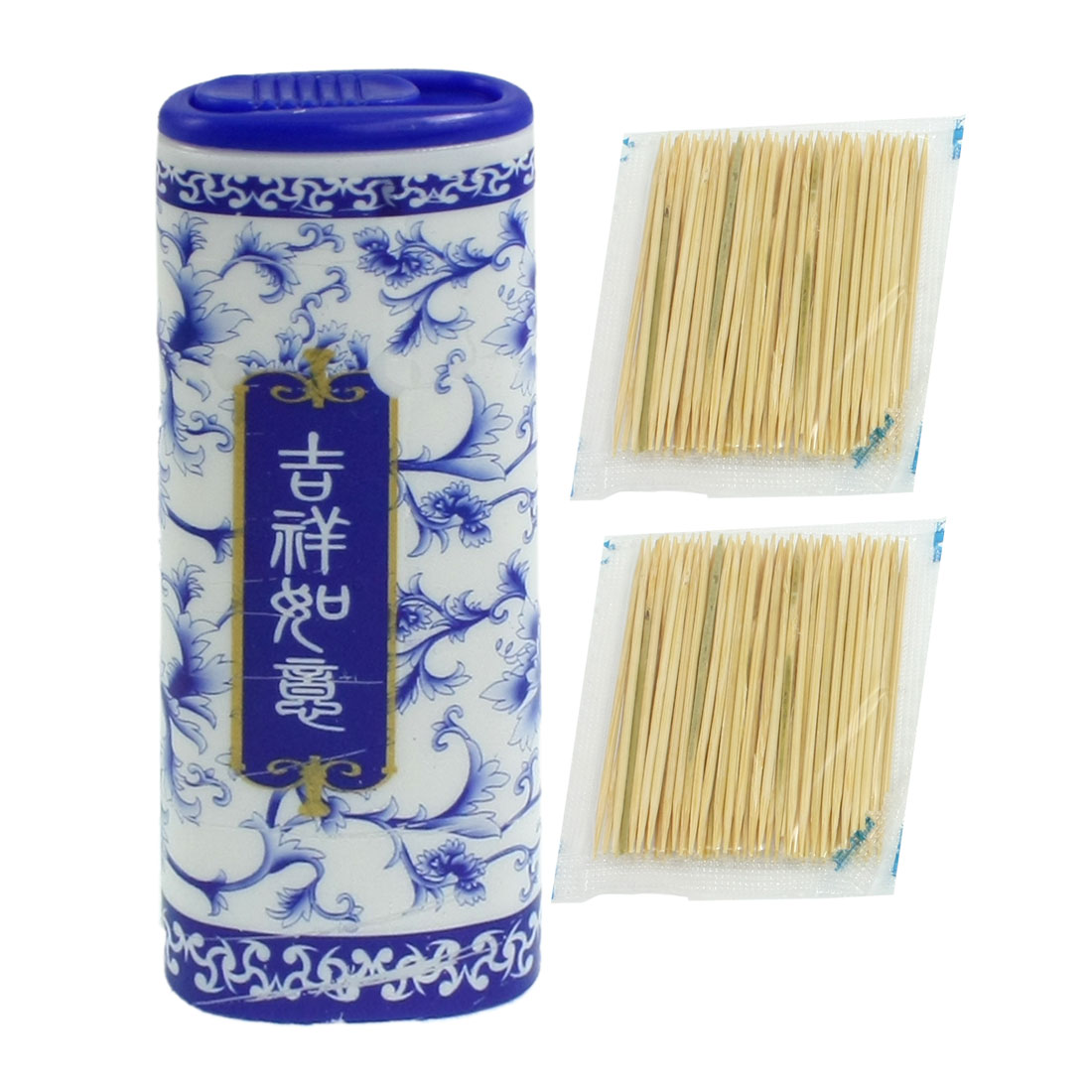Blue Porcelain Pattern Cylider Plastic Holder w Toothpicks