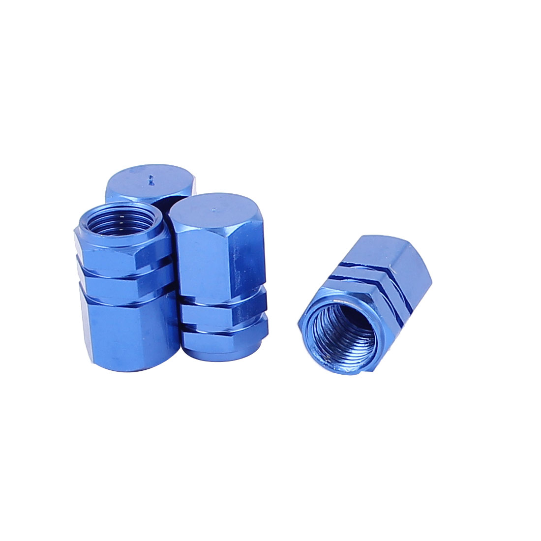 4 Pcs Royal Blue Alloy Car Tyre Tire Valve Cap Cover Replacement