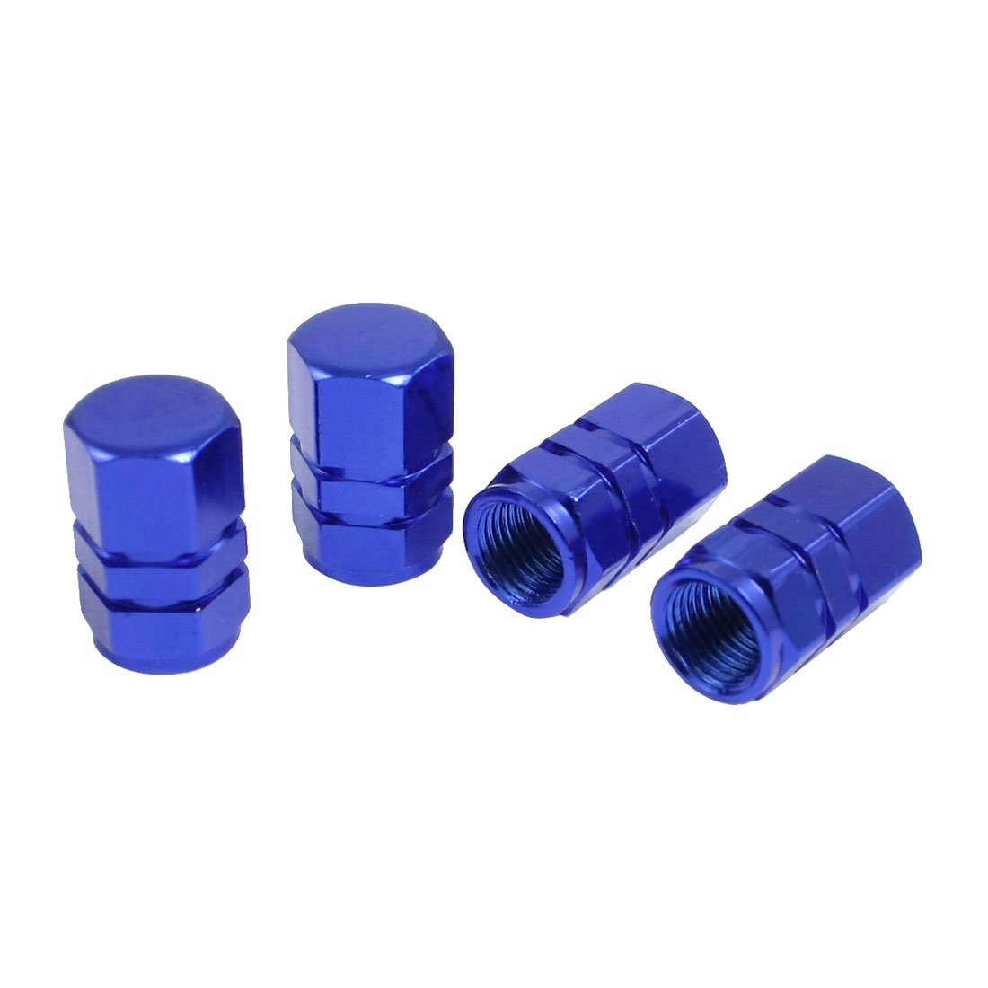 Motorcycle Truck Car Tire Tyre Wheel Valve Stem Dust Caps Royal Blue 4 Pcs
