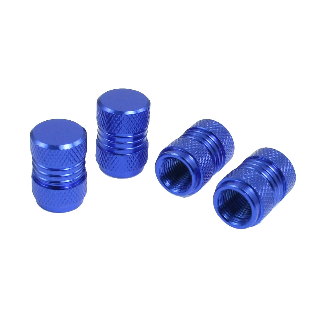 4 Pcs Alloy 7mm Thread Car Bike Tyre Tire Valve Stem Caps Covers Royal Blue