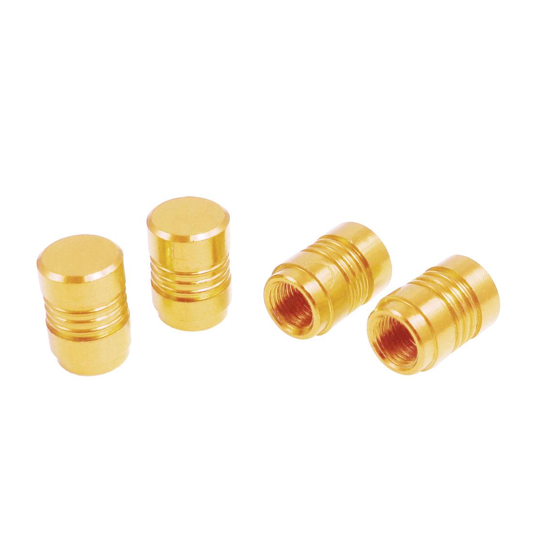 4 Pcs Gold Tone Alloy Car Auto Tire Valve Cap Cover Replacement