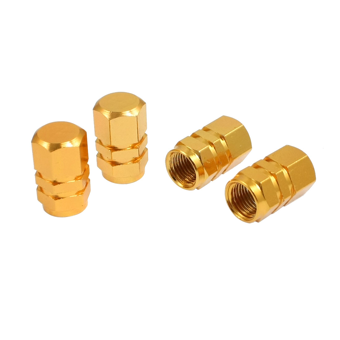4 Pcs Gold Tone Alloy Car Tyre Tire Valve Cap Cover Replacement