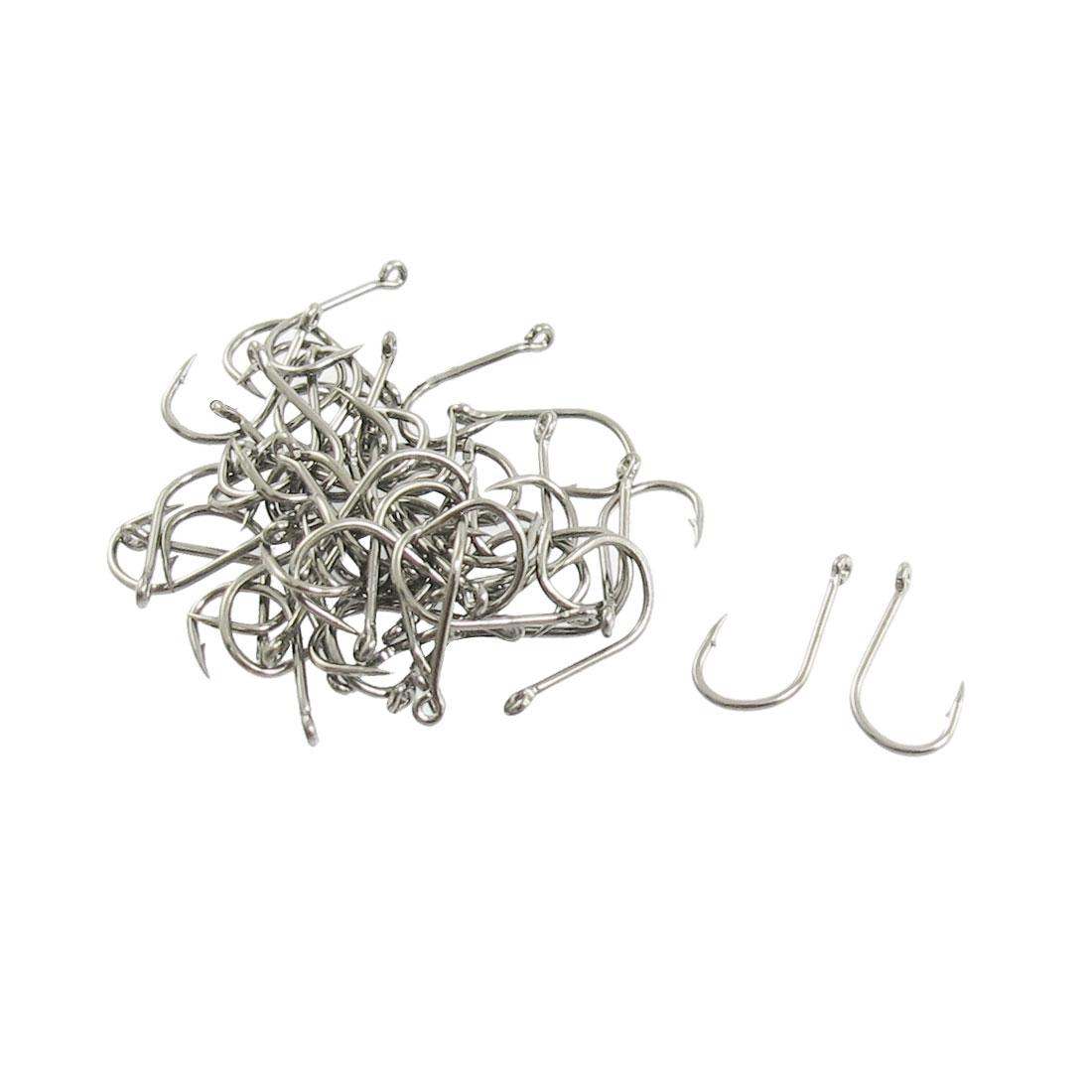45 Pcs Silver Tone Metal Eyeless Barbed Fishhook Fishing Tool 3#