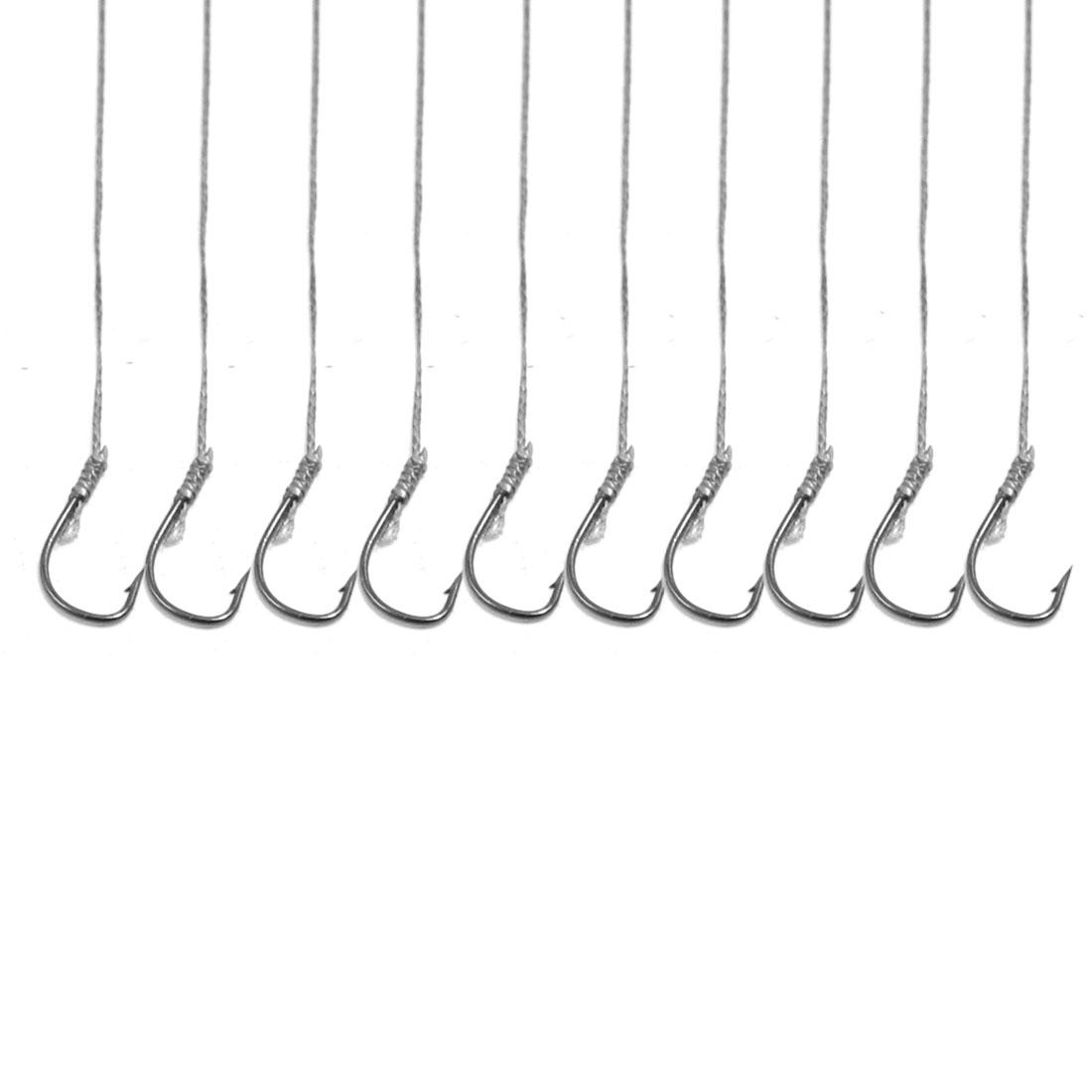 5 Pairs Size 5 Gray Metal Eyeless Sharp Barb Fish Fishing Hook Tackle