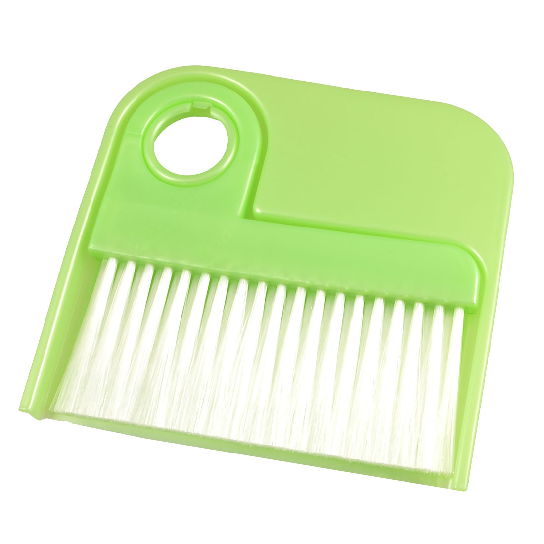 Green Plastic Handle White Nylon Bristle Whisk Broom Dustpan Cleaner