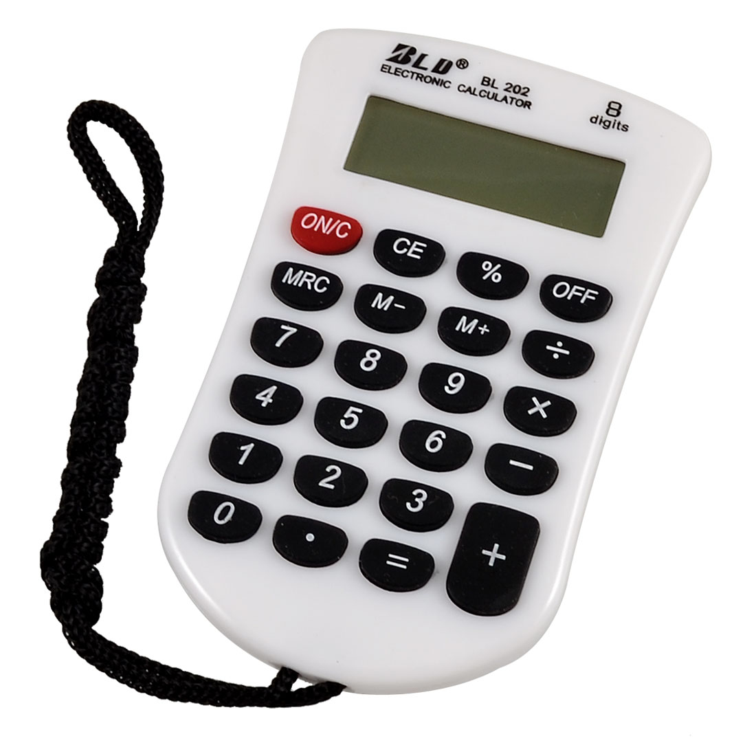 Students Black White Keys 23 Rubber Keys LCD Mini Calculator w Neck Strap