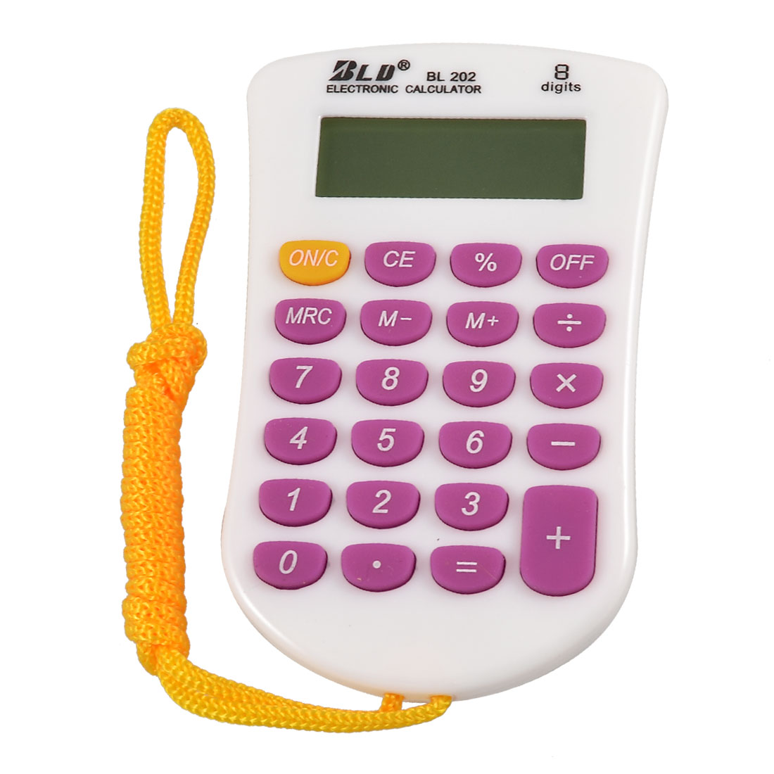 School Office Desktop Rubber 23 Keys LCD Handheld Calculator w Neck Strap
