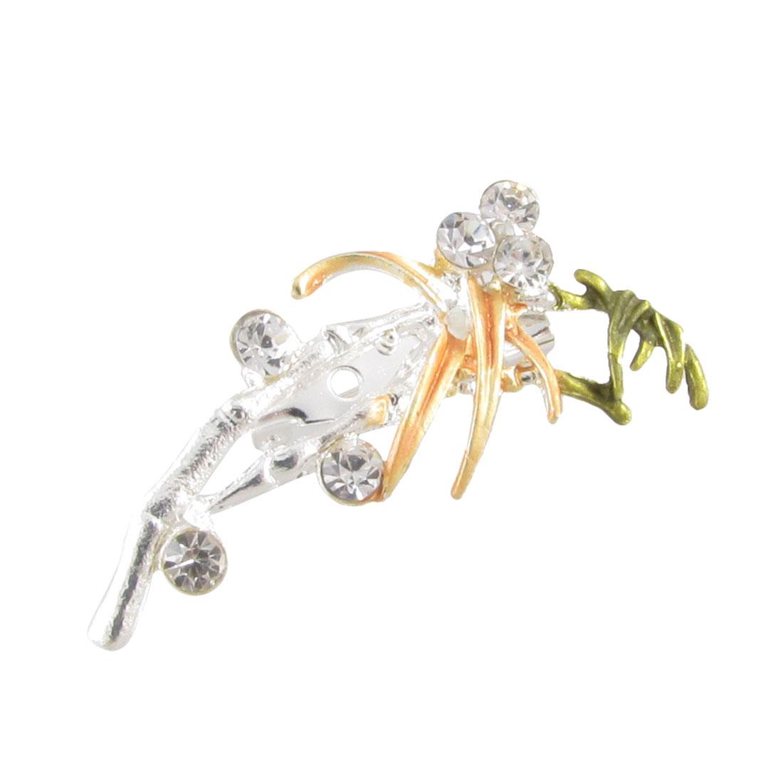 Lady Shiny Rhinestone Green Yellow Silver Tone Leaf Flower Safety Pin Brooch
