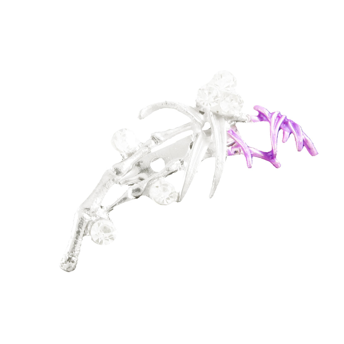 Lady Shiny Rhinestone Light Purple Silver Tone Leaf Flower Safety Pin Brooch