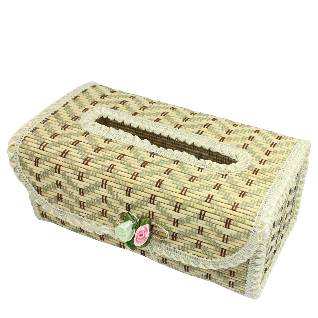 Zigzag Pattern Flower Decor Bamboo Handmade Tissue Box Cover Holder