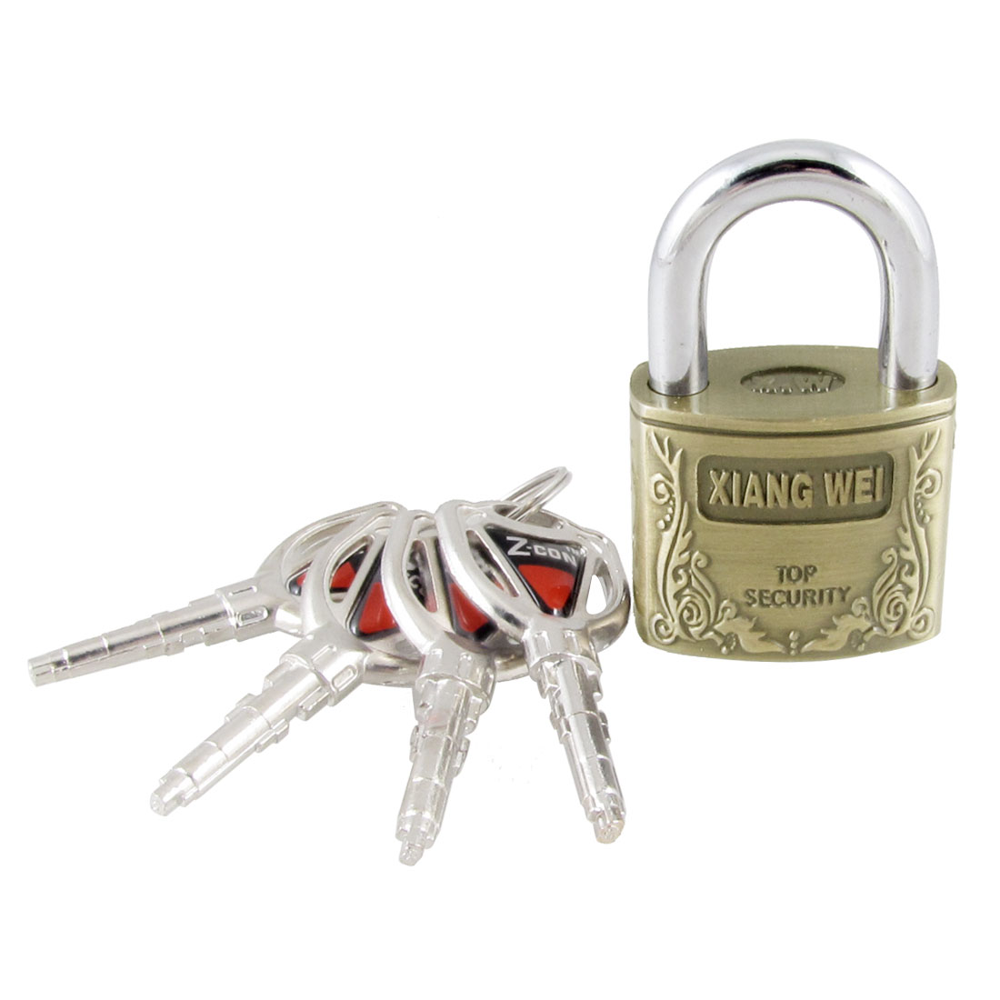 "2.5"" High Height Brass Padlock w 4 Keys for Cabinet Luggage Case"