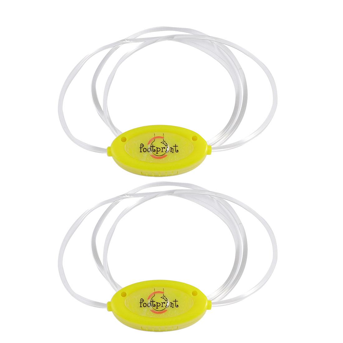 2pcs 3 Mode Yellow LED Light-up Shoe Shoelaces Shoestring Flash Glow Stick Straps