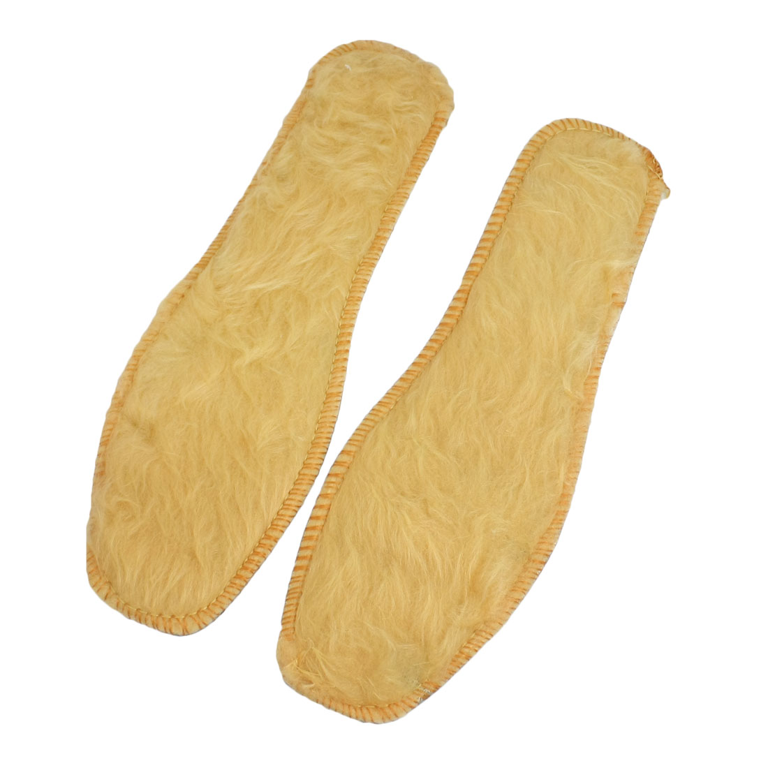 Women Pair Beige Soft Plush Cushion Shoes Insoles Pads Size 40