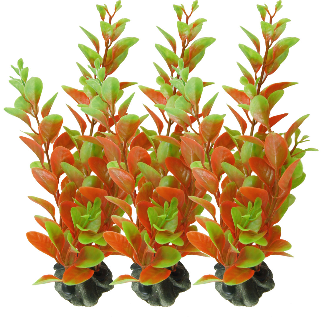 """3 Pcs Ceramic Base Orange Plastic Plant Ornament 6.3"""" for Aquarium Fish Tank"""