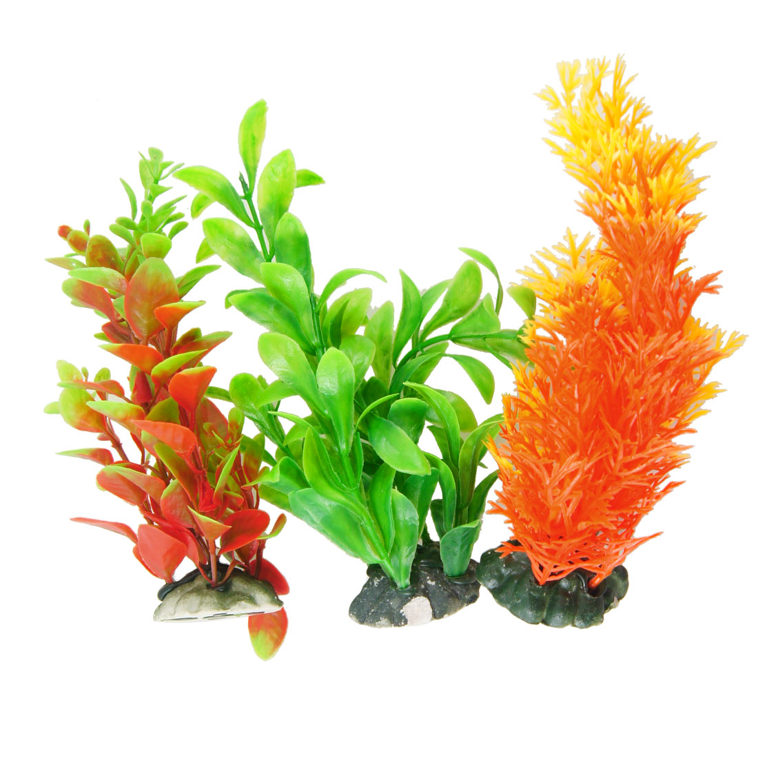 "Aquarium Fish Tank Underwater Aquascaping Colorful Plastic Plant 6.3"" 3 Pcs"