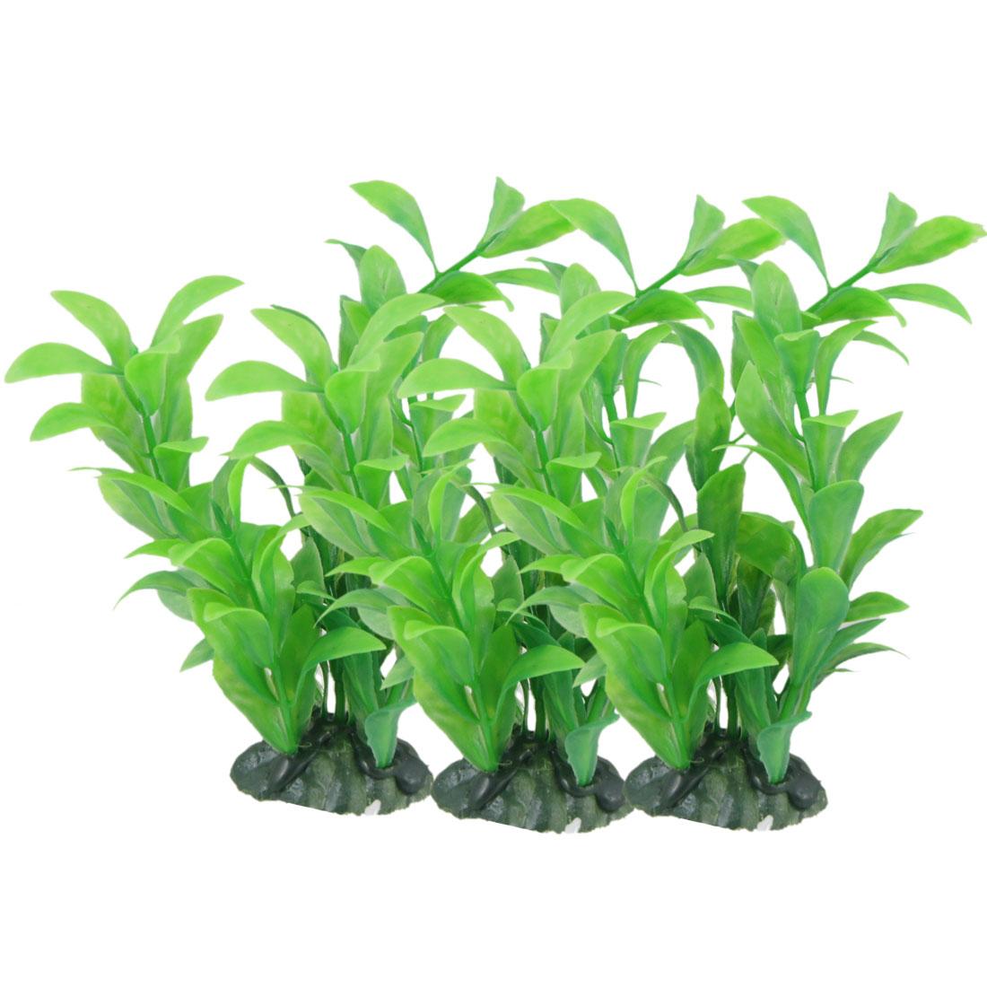 """3 x Ceramic Base Manmade Green Plastic Plant 5.9"""" for Aquarium Fish Tank"""