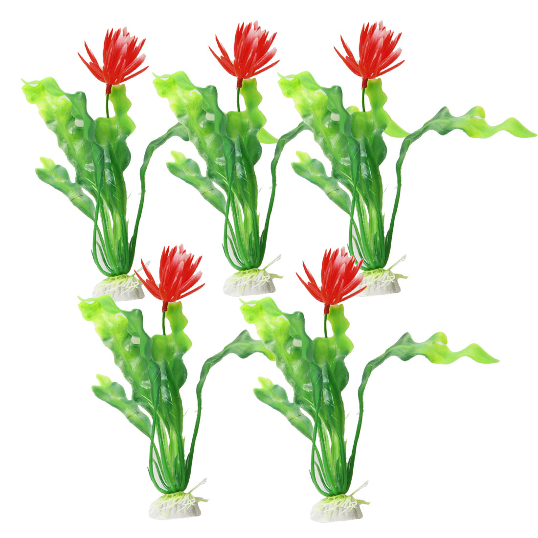 "5 x Red Green Plastic Flower Plant Ornament 7.7"" for Aquarium Fish Tank"