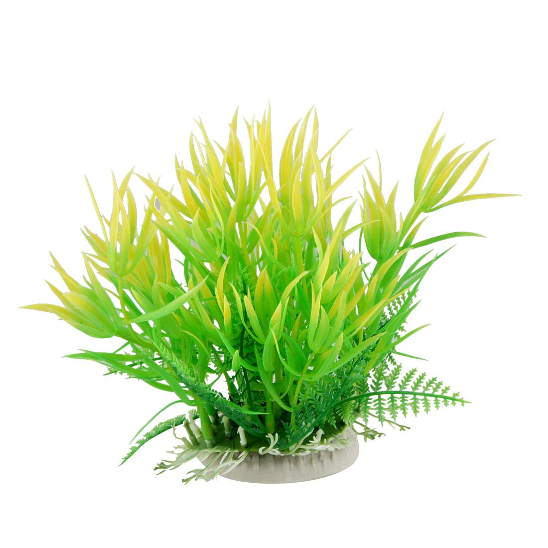 """Aquarium Fish Tank Underwater Aquascaping Yellow Green Plastic Plant 7.1"""""""
