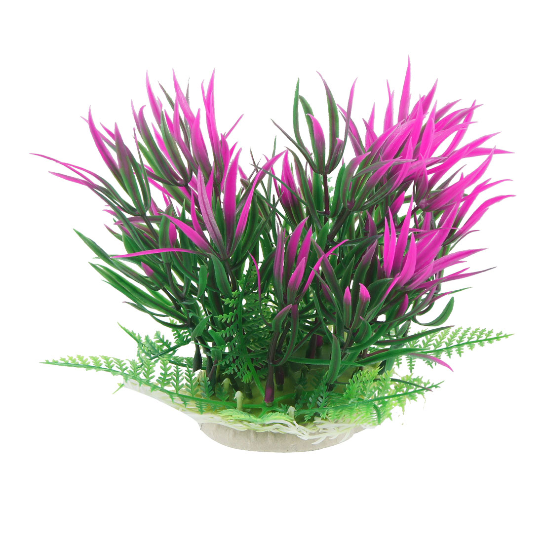 Emulational Fuchsia Green Plastic Plant Aquarium Fish Tank Decor Ornament 6.9""