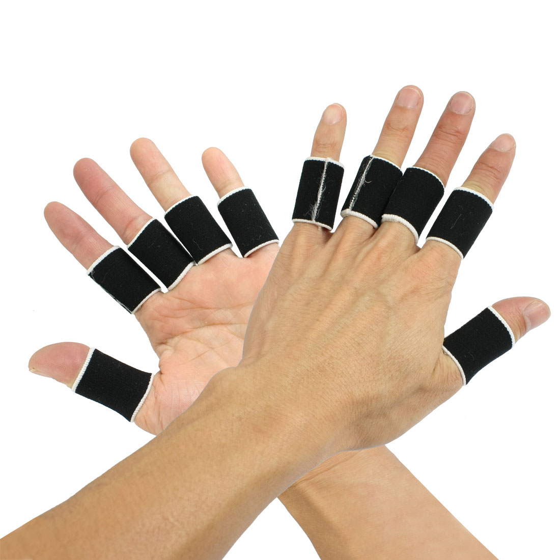 10 Pcs Volleyball Sports Neoprene Finger Sleeve Cover Black