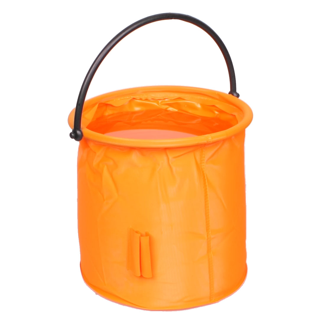 Black Handle Orange Folding Round Fish Pail Portable Water Bucket 4.5L