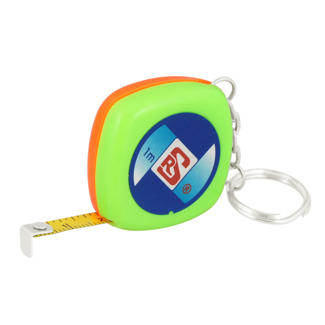 Green Shell English Metric Carpenter Ruler Tape Keychain 1M 3Ft