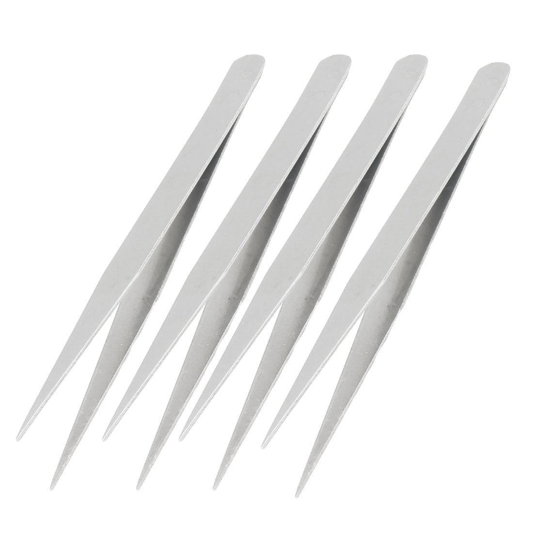 Household Silver Tone Pointy Tip Metal Straight Tweezers 4 Pcs