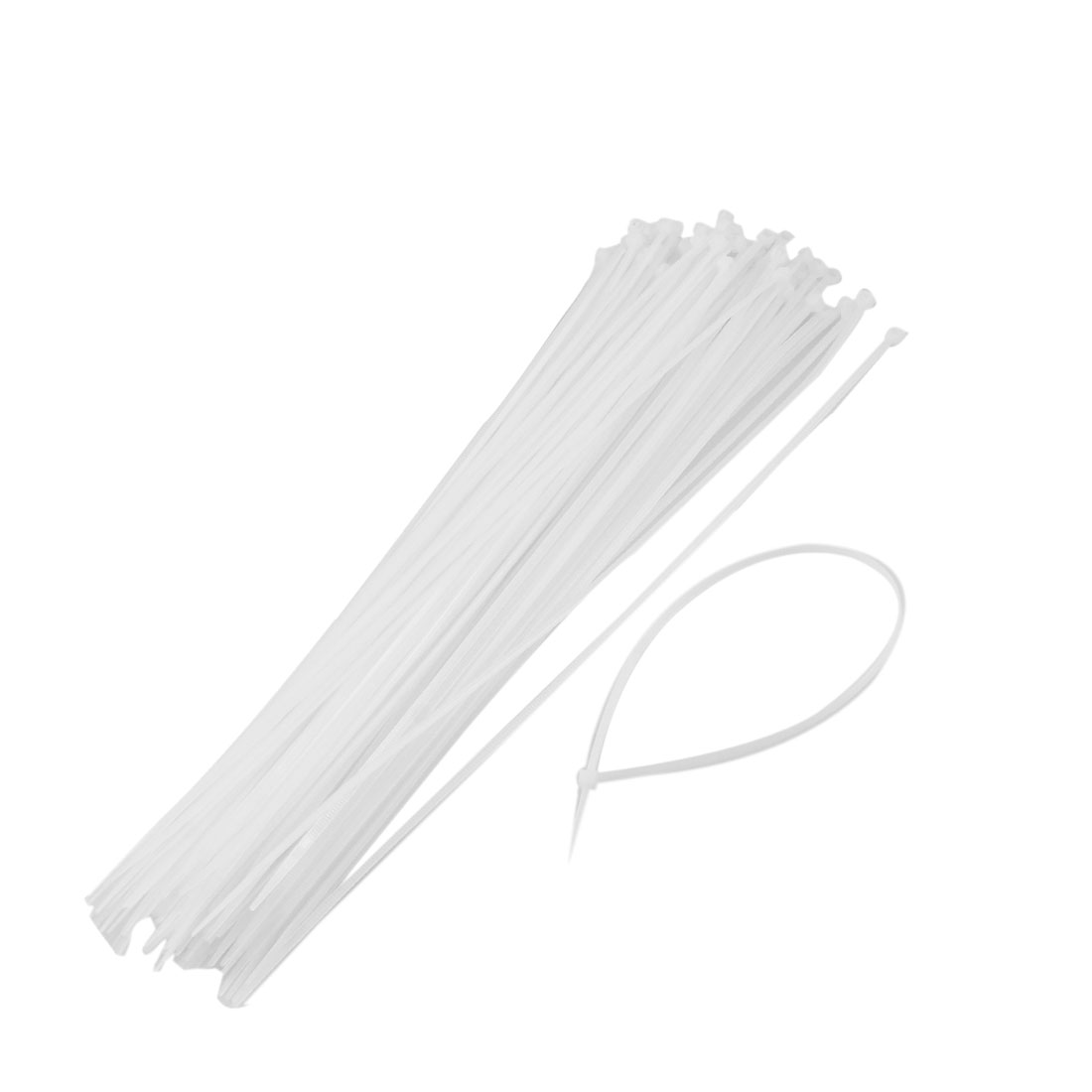 100 Pcs White Plastic Cable Zip Tie Fasten Wrap 295mm x 3mm