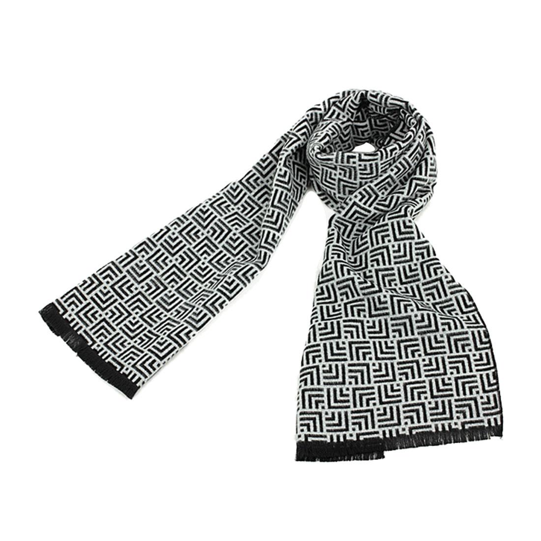 Mens Classic Black White Maze Pattern New Fashion Fringe Scarf
