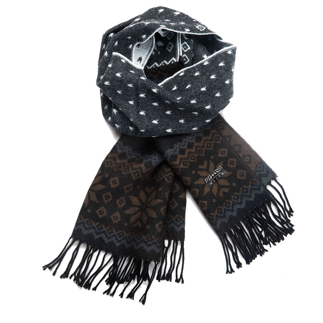 Women Men Fashion Reindeer Pattern Black Beige Tassel Hem Scarf