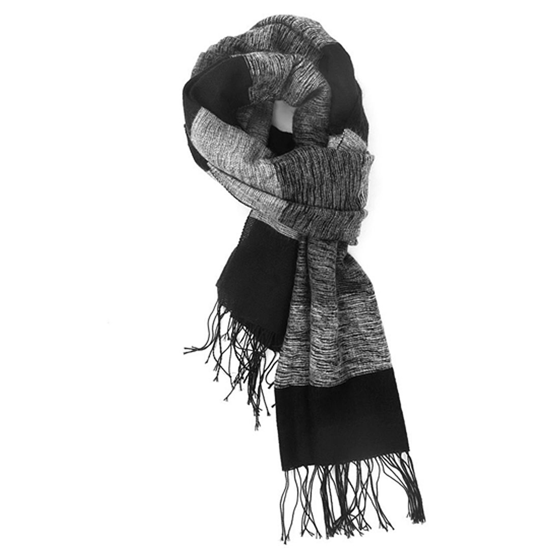 New Fashion Black Gray Patch Knit Wrap Scarf For Lovers