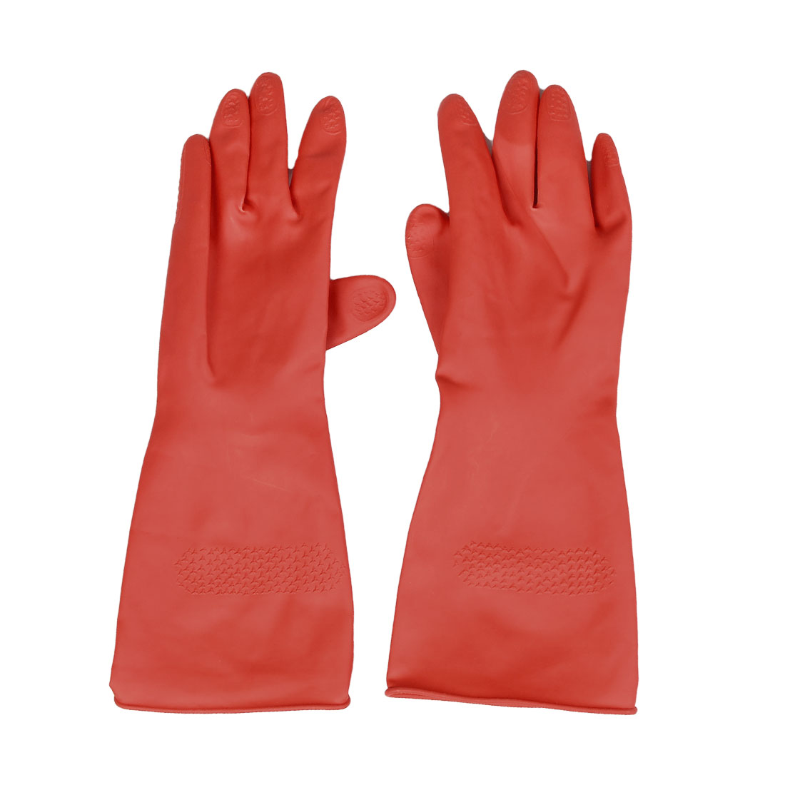 Pair Household Red Latex Working Clean Long Gloves Pair