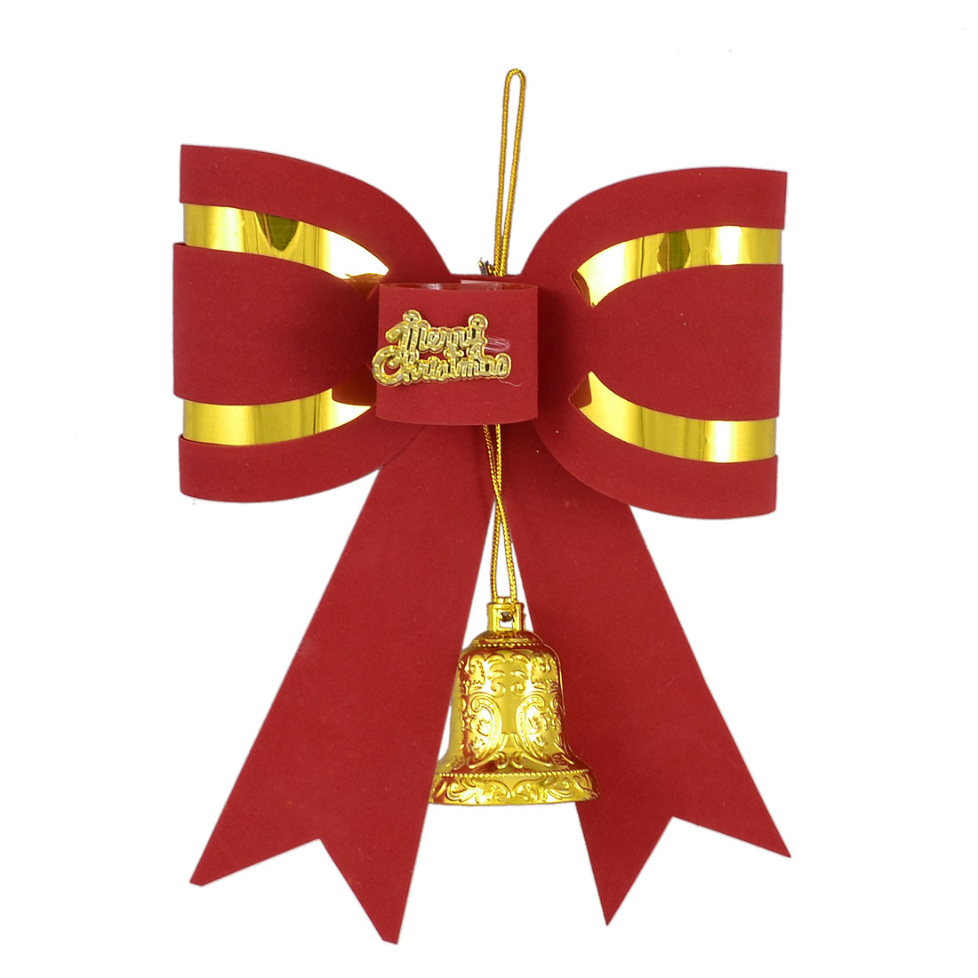 "Gold Tone Printed Bell Merry Christmas Red 7.5"" Powder Bowknot Xmas Tree Decoration"