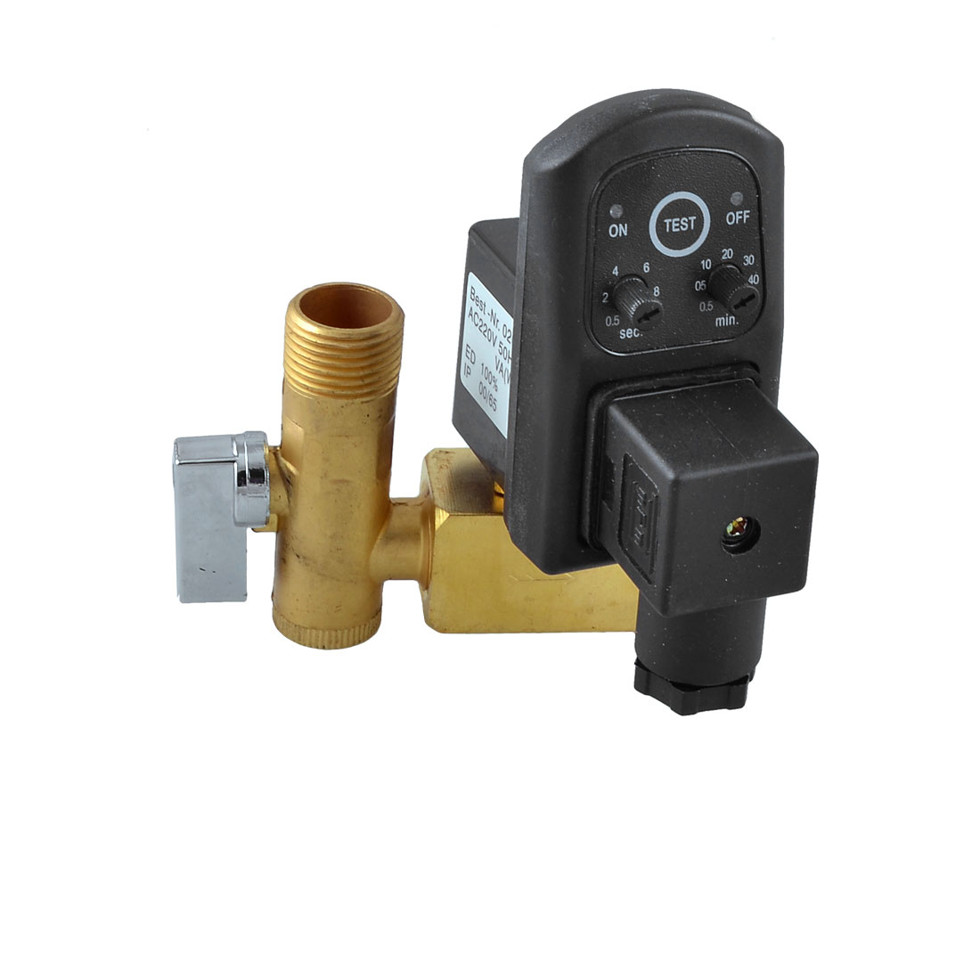 "AC 220V 50Hz 1/2"" 16bar Brass Compressor Drain Valve w Black Timer"