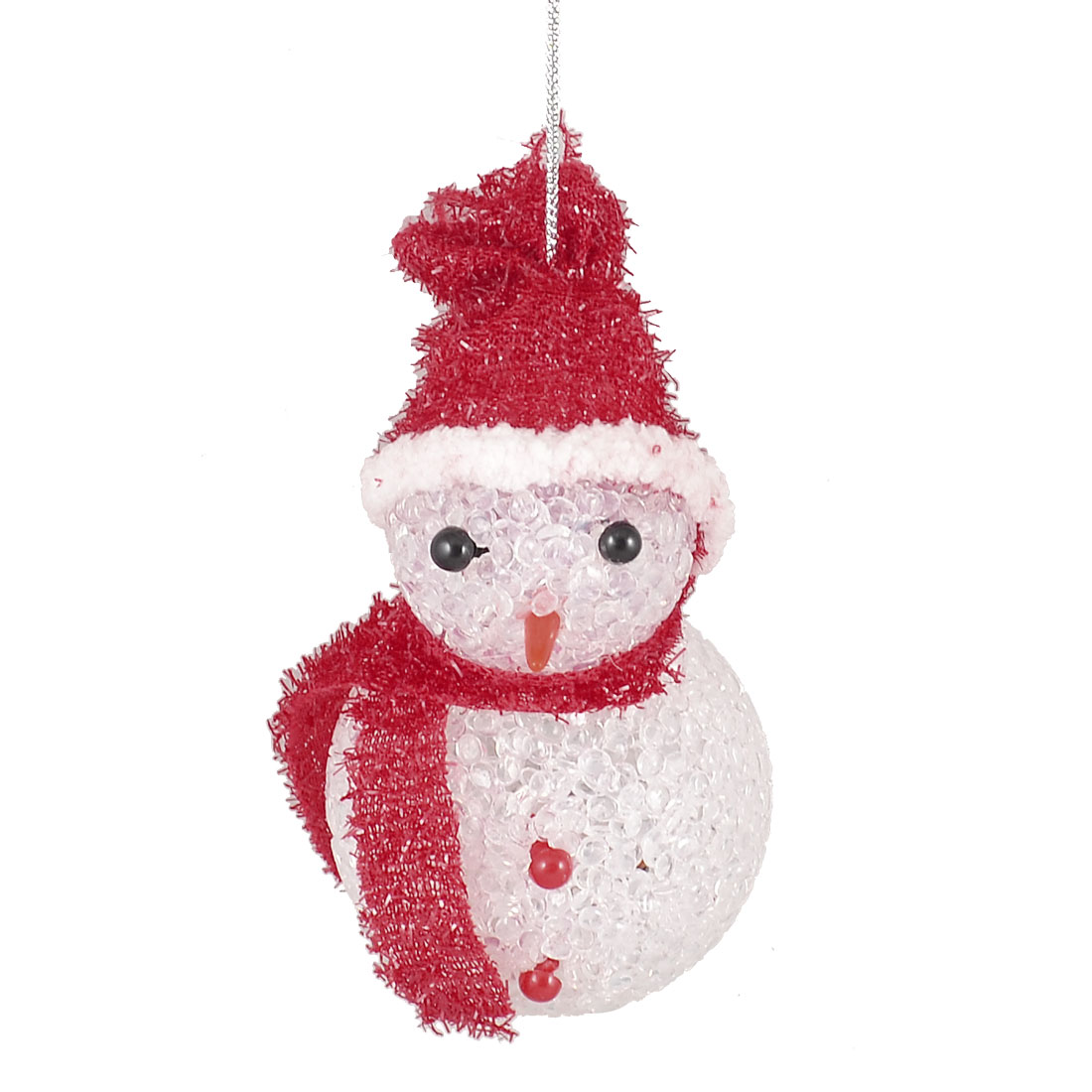 Plastic Tinsel Hat Scarf Snowman Xmas Tree Hanger Ornament w Changing 6 Colors LED Light