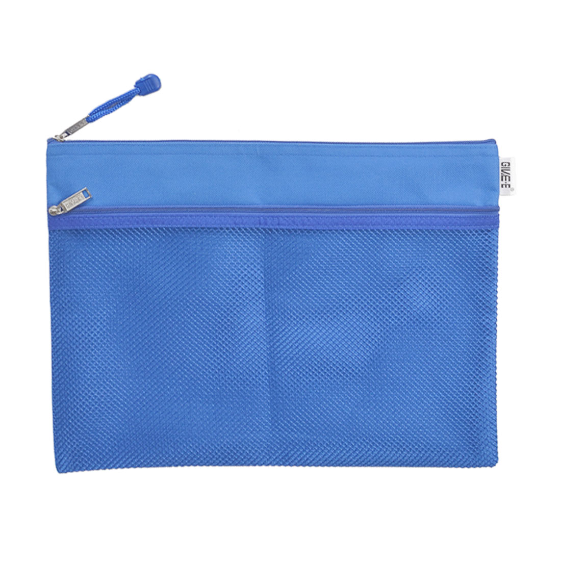 Two Compartments A4 Paper Pen Holder Zippered PVC File Folder Bags Blue