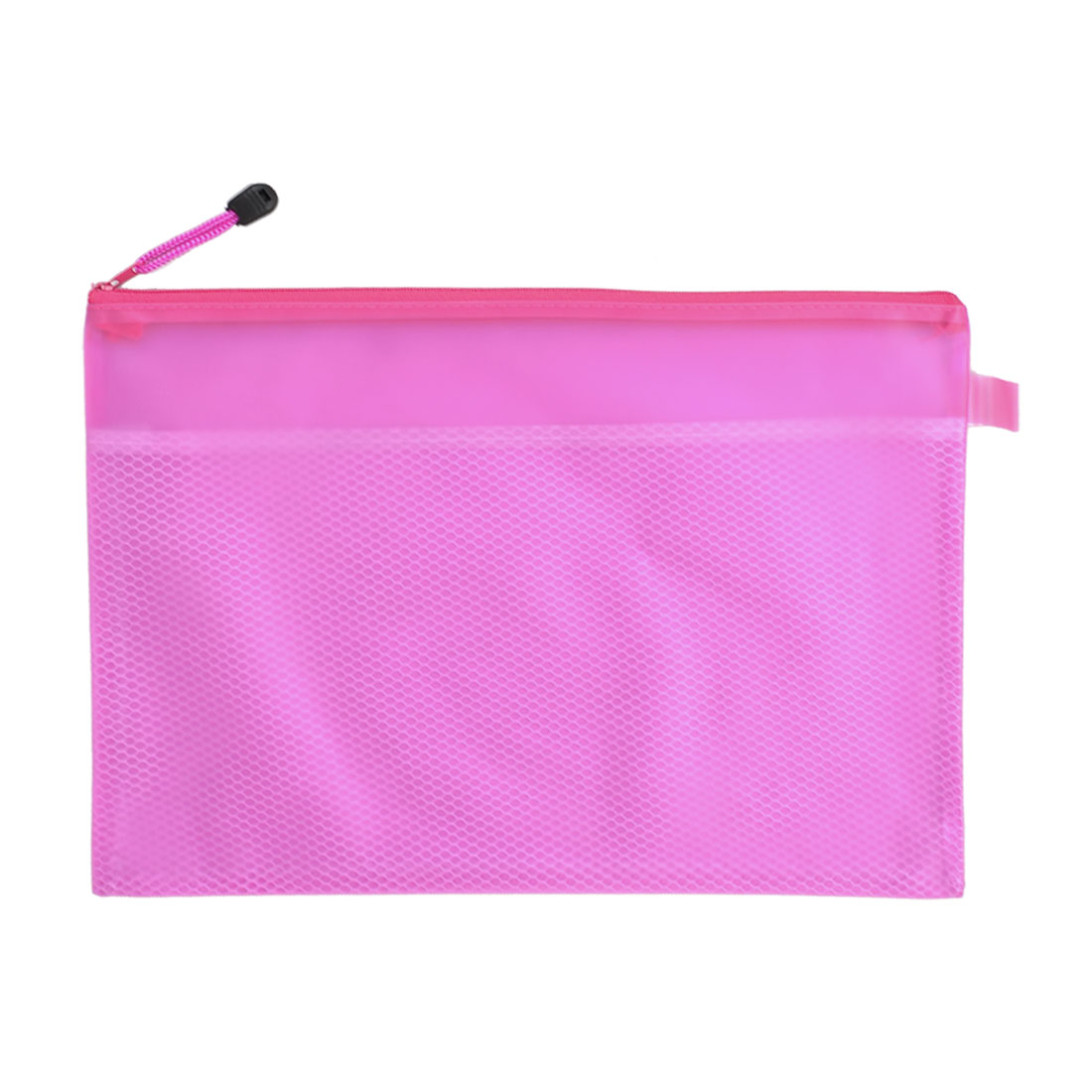 A4 Horizontal Zip up Two Compartments Fuchsia PVC File Folder Bags