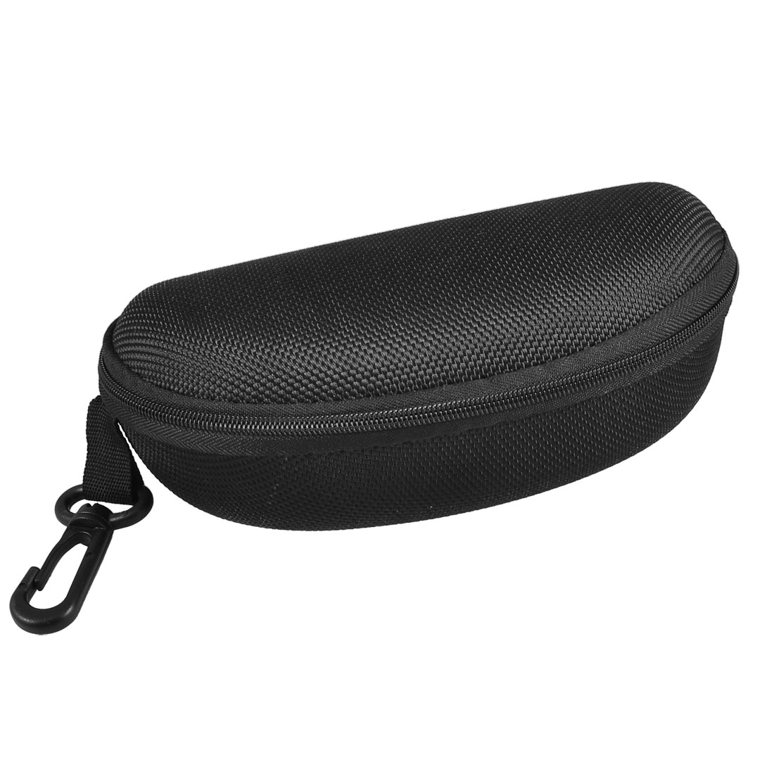 Black Plastic Carabiner Fleece Lining Nylon Eyeglasses Glasses Case Box Holder