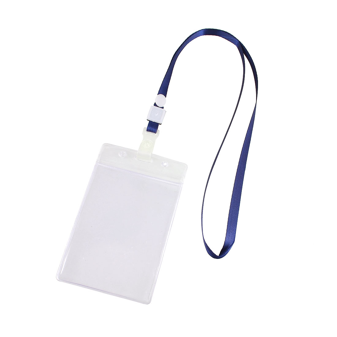 Navy Blue Clear ID Card Badge PVC Holder Adjustable Neck Strap Lanyard 2 Pcs