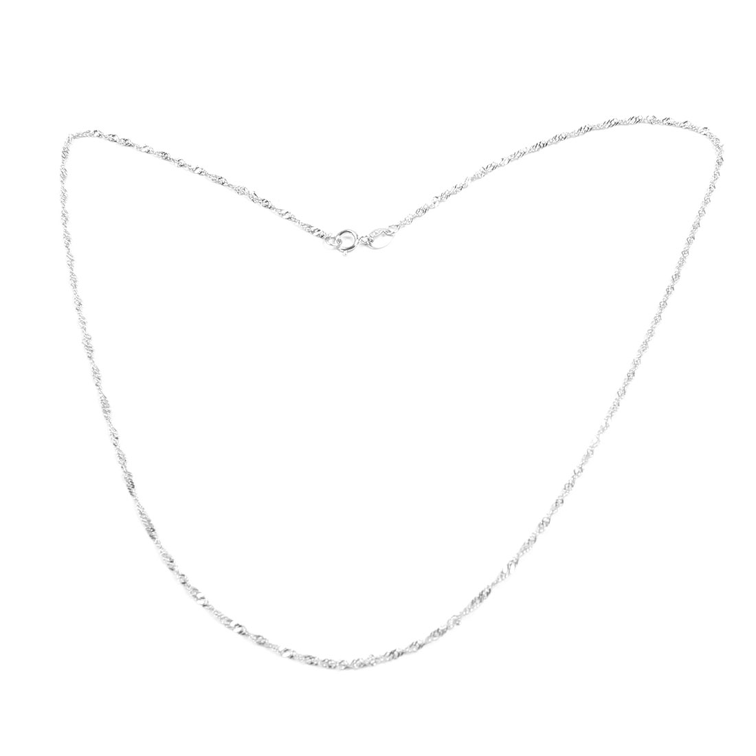 """17.3"""" Girth Silver Tone Alloy Necklace Chain Jewelry Gift for Ladies"""