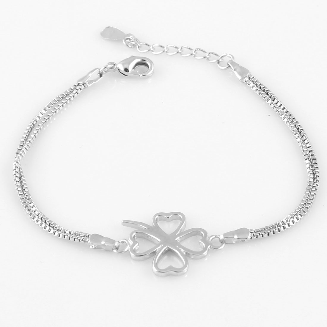 Women Clover Decor Adjustable Chain Bracelet Bangle Silver Tone