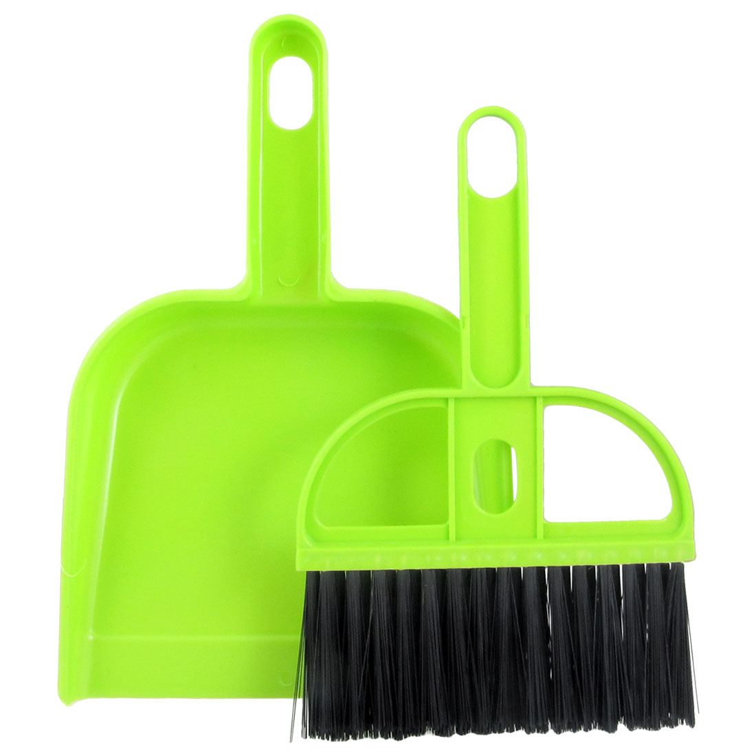 Green Black Plastic Bristle Car Computer Fan Brush Dustpan Cleanner Set