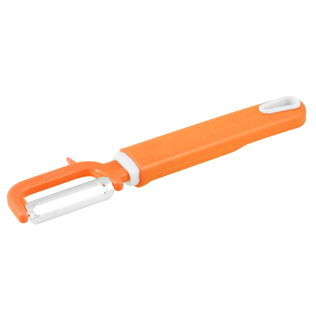 Home Stainless Steel Cutter Orange White Plastic Handle Fruit Peeler