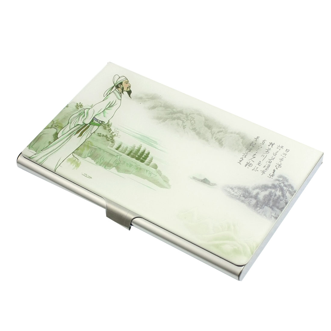 Mirror Polish Stainless Steel Poet Moutains Pattern Business Card Holder